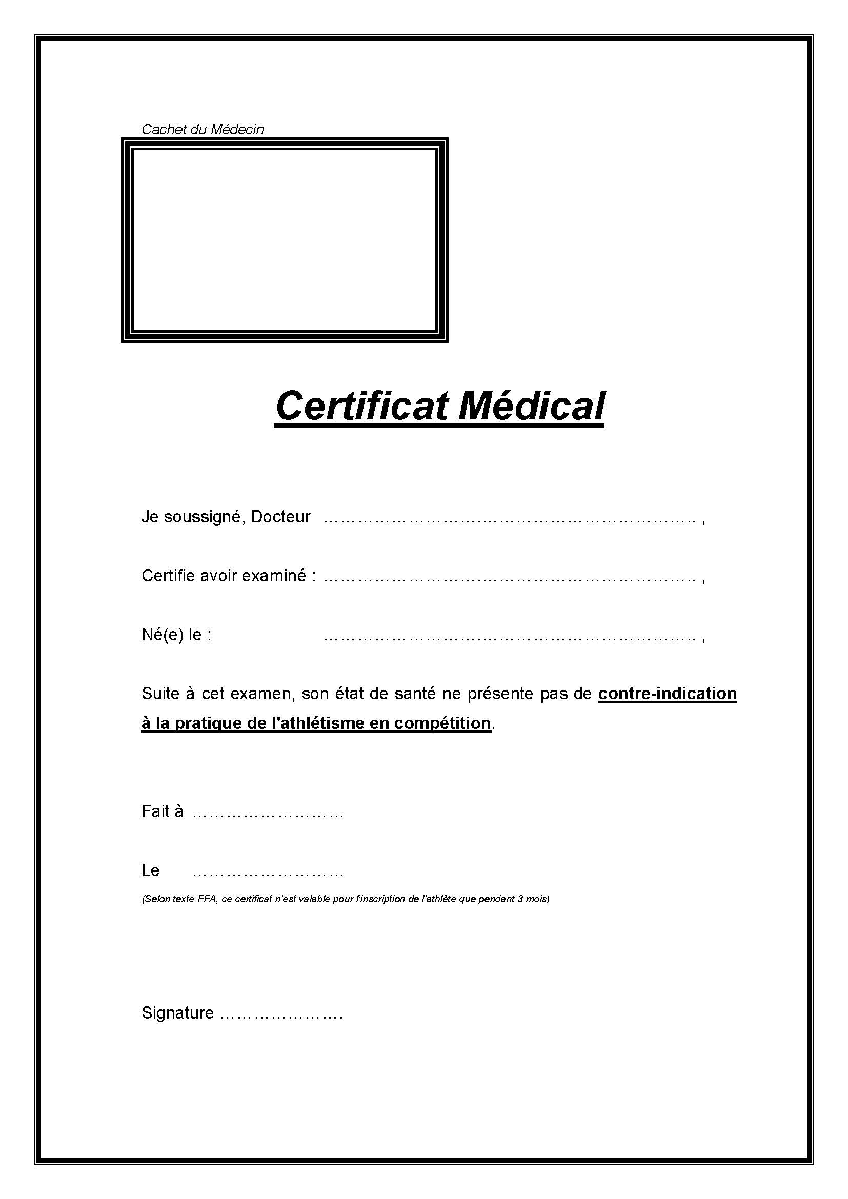 Modele Certificat Medical